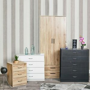 3 Piece Wooden Bedroom Set Wardrobe Chest Cabinet Bedside Table Clothes Storage