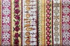 Christmas Tidings of a Great Joy Stripe J.Wecker Frisch Cookie Apple Rose Fabric