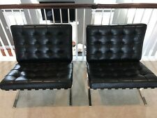 Knoll Barcelona  - Black Leather PAIR - Stamped 100% Authentic
