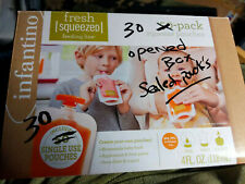 Infantino Squeeze Pouches Baby Food Feeding Puree Fresh 30 Count w/lids open box