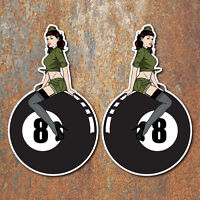 Pin Up Girl 8 Ball Hot Rat Rod Stickers Vintage Classic Car Decal 2
