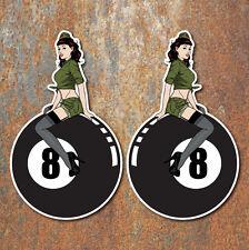 """""""pin Up Girl"""" 8 Kugel Heißen Ratte Rod Sticker Vintage Klassiker Auto Aufkleber"""