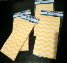 10 Yellow Chevron Paper Treat Bags Sacs Party Decor Baby Gender