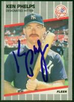 Original Autograph of Ken Phelps of the NY Yankees on a 1989 Fleer Card