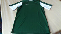 *Youth large Under Armour loose fit HeatGear -  GREEN w/ white  - t-shirt -SHIRT
