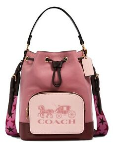 Coach Jes Drawstring Bucket Bag In Colorblock With Horse And Carriage MSRP: $378