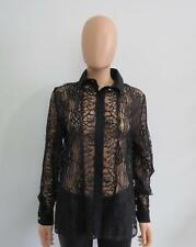 Elie Saab Black Sheer Floral Lace Button Front Long Sleeve Blouse/Top Size 42
