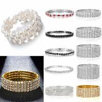 Elegant Wedding Bridal Crystal Pearl Bangle Elastic Bracelet Women Jewelry Gift