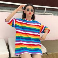 Lady Rainbow Striped Cotton T-shirt Loose Harajuku Top Short Sleeve Fashion-MG45
