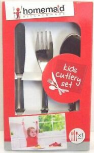 3pc Kids Cutlery Set Stainless Steel Childrens First Dinner Spoon Fork Utensil