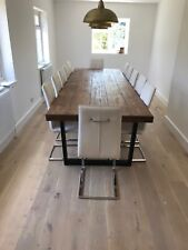 Chunky Reclaimed Sleeper look Dining Table 75mm Thick Top industrial and rustic