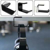 Headphone Stand Hanger Hook Tape Under Desk Dual Headset Mount Black Holder L4M7
