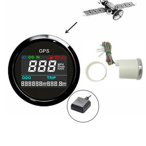52mm Universal Car Boat ATV GPS Speedometer 0~999 MPH Knots Kmh Black Bezel Dial