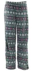 Fair Isle Juniors Black Grey Nordic Micro Fleece Lounge Pajama Pants