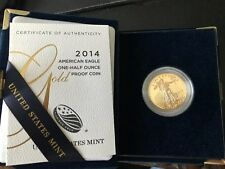 2014-W American Gold Eagle Proof (1/2 oz) $25 in OGP box and clean, w/o stains