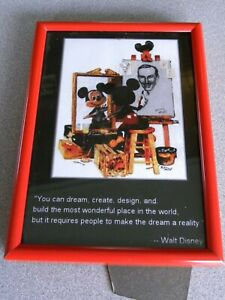 Mickey Mouse Framed Picture Walt Disney Quote Red Metal Vintage Disney
