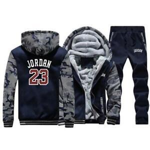 Mens Jacket+Pants 2 Piece Sets Jordan 23 Printed Hoodies Men Warm Suit Zip Coats