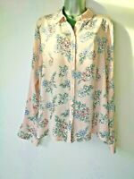 Primark 16 Pink Blue Floral Light Crepe Long Sleeve Shirt Blouse