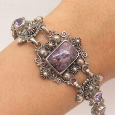 """Vtg 925 Sterling Silver Real Amethyst Gemstone Handmade Link Wide Bracelet 7"""""""