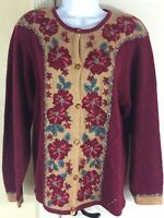 NWT Jantzen Classic Hand Embroidered Burgundy Floral Knit Cardigan Sweater Small