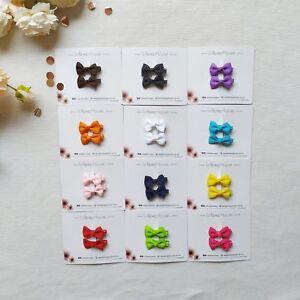 LollipopHouse 2pcs Ribbon Bow Hair Clips - 12 colors