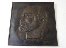 RUSSIE Lenine - Portrait Sculpture bas relief signé - Russian Art Lenin sculptur