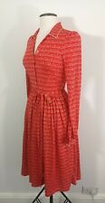 Vintage Red Long Sleeve Button Shirt Dress with Pockets Prairie Style Size 6-8