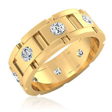 Natural Diamond Engagement Mens Rings 18Kt Yellow Gold Round Cut Band Size U W V