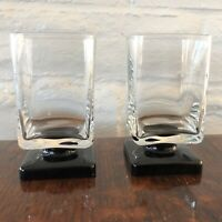 Black Square Footed Rocks Cordial Bar Glasses Lot of 2