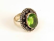 Big cocktail ring green stone alloy German silver peridot costume size 8.75