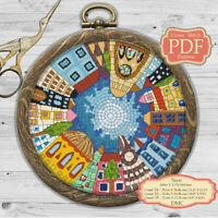 Sity skyline - Mandala - Modern Embroidery Cross stitch PDF Pattern - 079