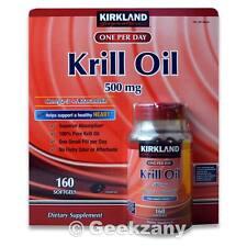 Kirkland Signature Krill Oil 500 mg Dietary Supplement 160 Softgels One Per Day