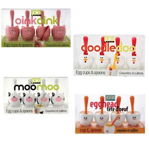 NEW JOIE EGG CUPS + SPOONS Chicken Boiled Eggs Goog SET 4