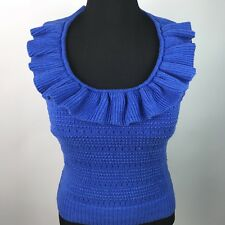 Milly Of New York Womens Knitted Ruffled Halter Top Royal Blue Sz L AO2