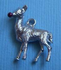 Reindeer Christmas sterling charm Vintage enamel Rudolph Red Nosed