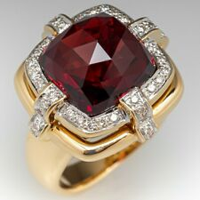 5.63 Cts Garnet Red Cushion Checker Woman's Engagement Ring Set 14k Rose Gold FN