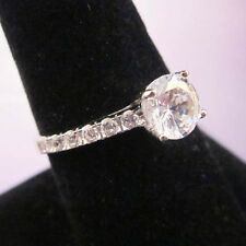 925 Sterling Silver Solitaire Accented Band Ring Size 8