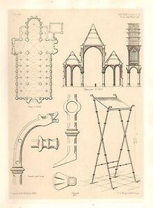 1858 Große Architektur Aufdruck Brüssel Kathedrale Victoires Mittelalter Kunst
