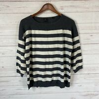 David Lawrence 3/4 Sleeve Striped Cotton Cashmere Sweater Sm US M Gray Cream