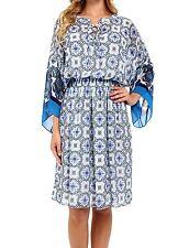 NWT MSRP $129 - ADRIANNA PAPELL Print Chiffon Loose Fit Dress, Blue Multi, S M L