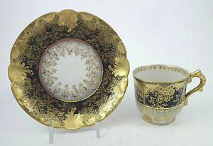 Antique GDA Limoges Demitasse Cup & Saucer, Cobalt Blue & Gold