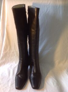 Russell&Bromley Black Knee High Leather Boots Size 40.5