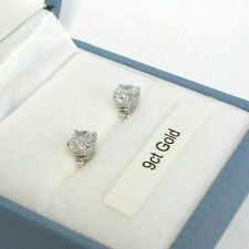 9ct WHITE GOLD 5mm Round 0.46ct Brilliant Cut Diamond Unique Stud Earrings Boxed