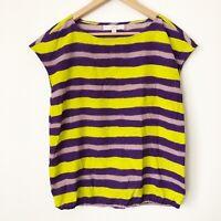 Ann Taylor Loft Size Small Striped Top Blouse Bright Purple Green Cap Sleeve S