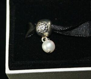 Pandora Charm Genuine Sterling Silver White Pearl of Wisdom Clip/Dangle