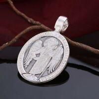 Russische Icone Anhänger Silber 925 oval ca. 8.8g Ангел Хранитель Schutzengel