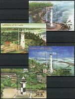 Sri Lanka Lighthouses Stamps 2018 MNH Lighthouse Thailand OVPT 4x 1v M/S