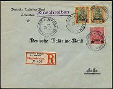 DP Türkei 1902 R-Brief Palästina-Bank MiF 13 I und 15 I Paar nach Jaffa 117