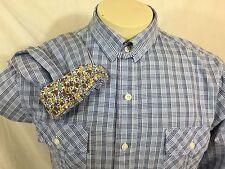 English Laundry Mens XL Blue Check Blaque Label B/F Long Sleeve Shirt Flip Cuff
