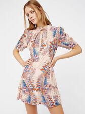 FREE PEOPLE Glassgow Geo Mini Dress In Peach Blush Size 10 Orig. $128 NWT